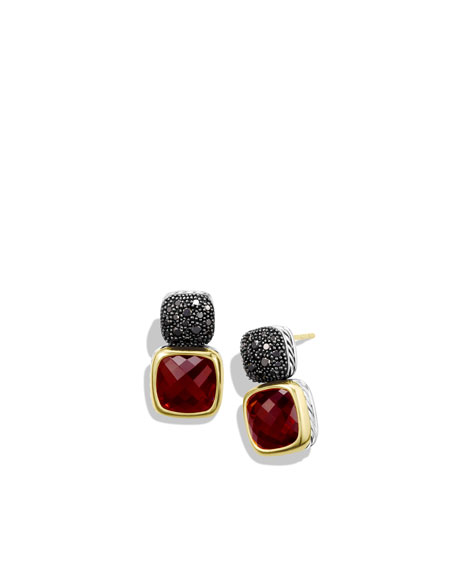 Chiclet Double-Drop Earrings with Garnet, Black Diamonds, and Gold