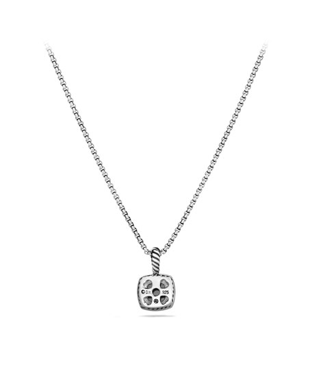 Petite Albion Pendant with Hematine and Diamonds on Chain