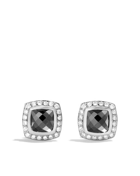 Petite Albion Earrings with Hematine and Diamonds