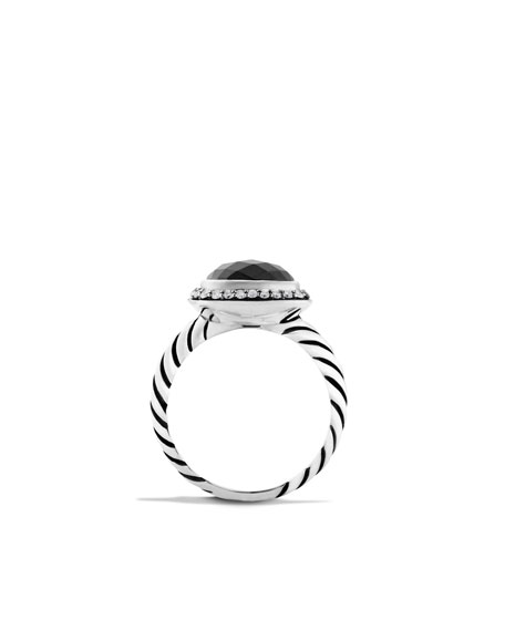 Noblesse Ring with Hematine and Diamonds