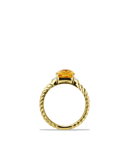 Petite Wheaton Ring with Citrine and Diamonds in Gold