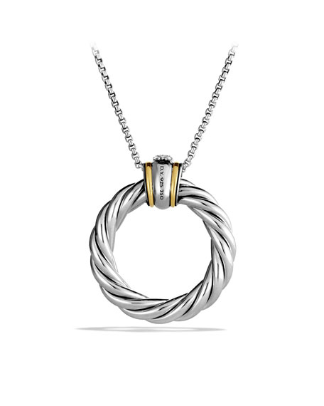 Cable Classics Large Pendant with Diamonds and Gold on Chain