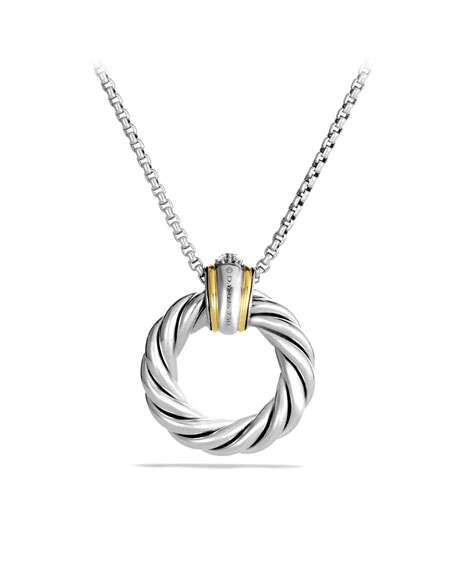 Cable Classics Small Pendant with Diamonds and Gold on Chain