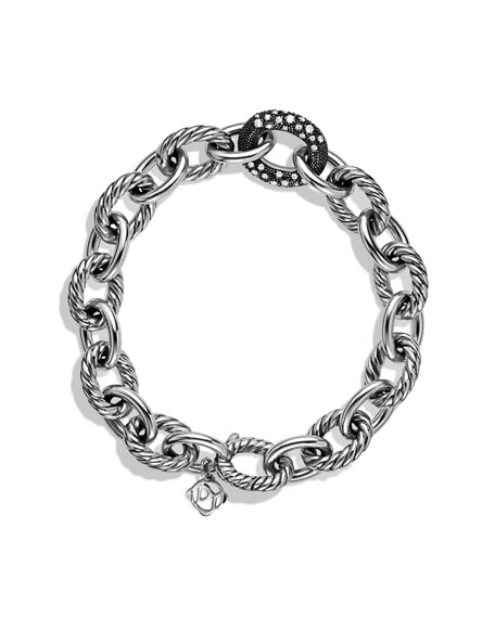 Oval Large Link Bracelet with Black Diamonds