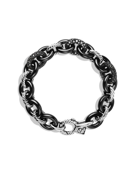 Midnight Mélange Oval Small Link Bracelet with Black and White Diamonds
