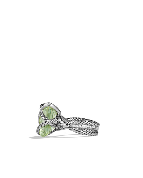 Cable Wrap Ring with Prasiolite and Diamonds