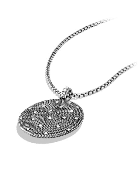 Cable Coil Large Pendant with Diamonds