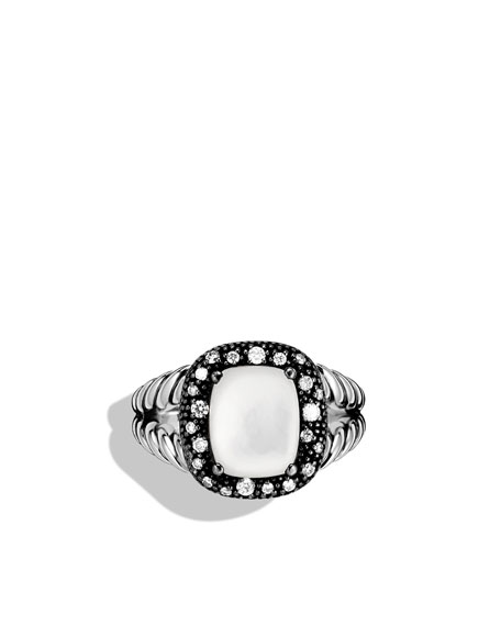Midnight Méange Ring with Moon Quartz and Diamonds