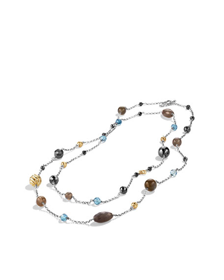 Bead Necklace with Gray Moonstone and Hematine