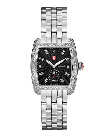 16mm Urban Mini Diamond Black Dial Watch Head, Steel