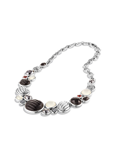 Sculpted Cable Necklace with Black Onyx, Gray Chalcedony, and Diamonds