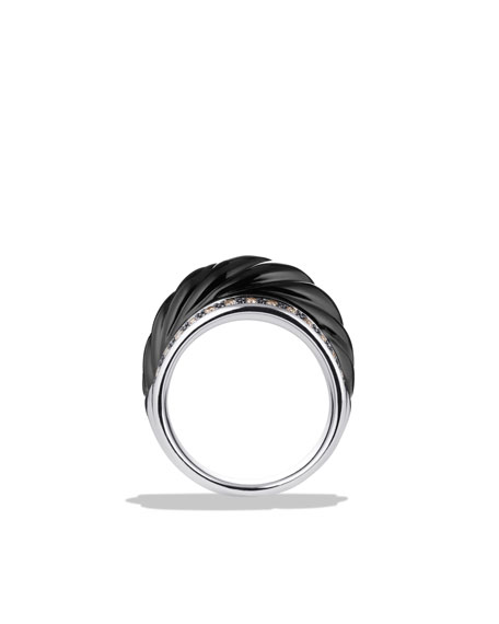 Sculpted Cable Wide Ring with Black Onyx and Diamonds