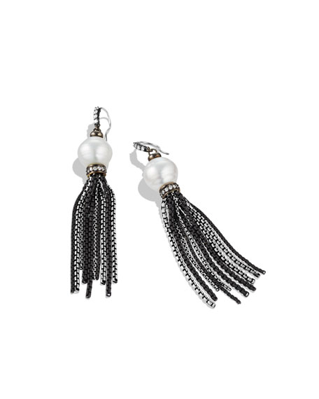 Tassel Earrings with South Sea Pearls and Diamonds