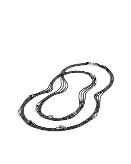 Four-Row Chain Necklace with London Blue Topaz