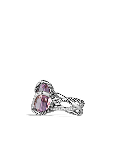 Cable Wrap Ring with Lavender Amethyst and Diamonds