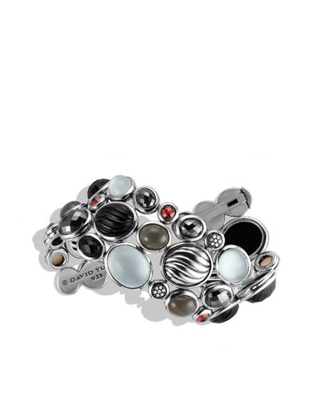 Mosaic Wide Bracelet with Black Onyx, Garnet, and Diamonds