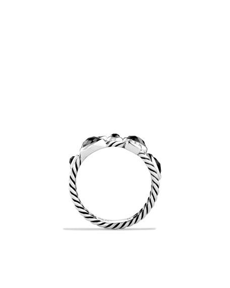 Confetti Three-Row Ring with Black Onyx, Hematine, and Diamonds