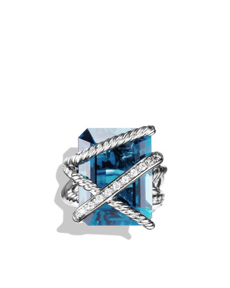 Cable Wrap Ring with Hampton Blue Topaz and Diamonds