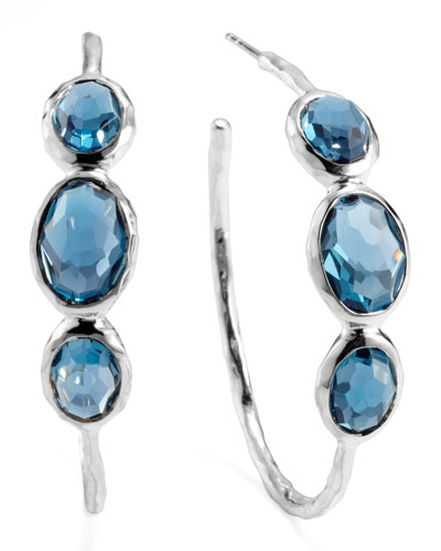 Ippolita Rock Candy Silver 3-Stone Hoop Earrings, London Blue