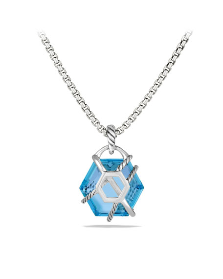 Cable Wrap Pendant with Blue Topaz and Diamonds