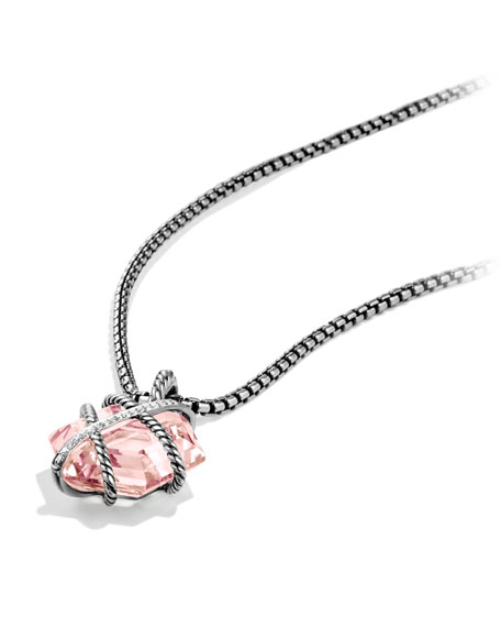 Cable Wrap Pendant with Rose Quartz and Diamonds
