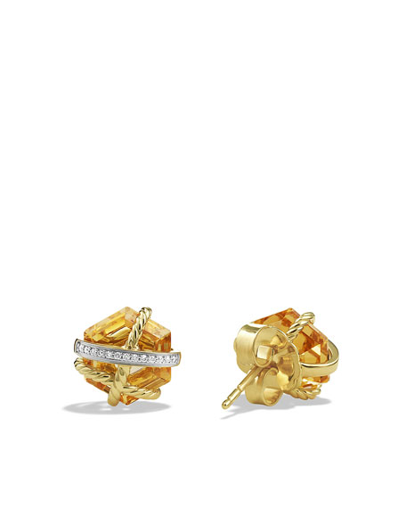 Cable Wrap Earrings with Champagne Citrine and Diamonds in Gold