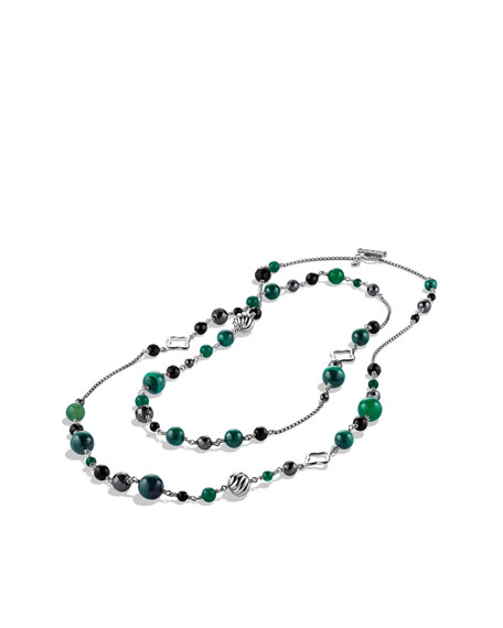 Bead Necklace with Black Onyx and Hematine