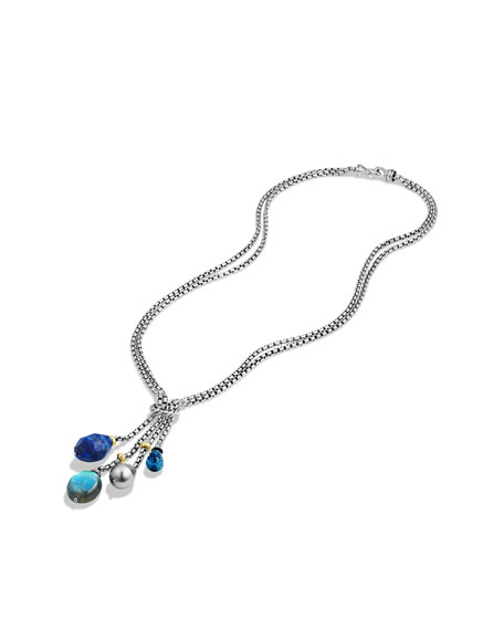 Bead Tassel Necklace with Lapis Lazuli, Labradorite, and Gold