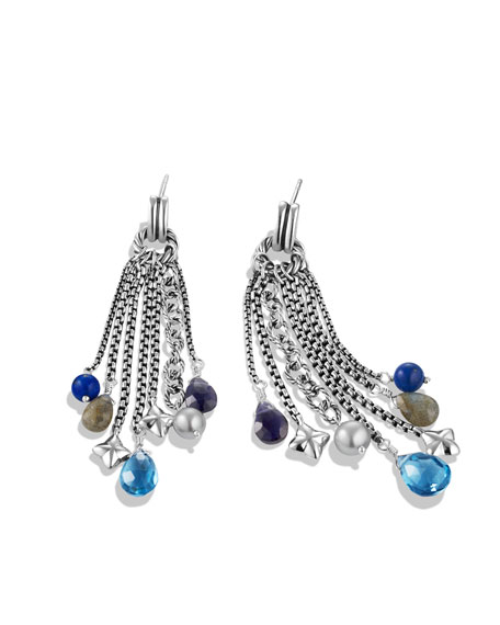 Bead Tassel Earrings with Blue Topaz and Iolite