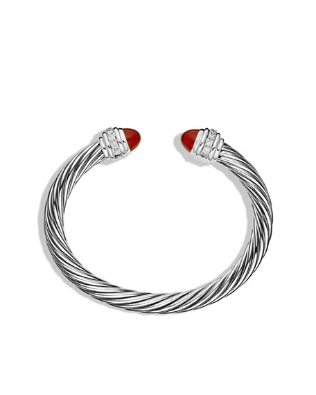 Cable Classics Bracelet with Carnelian and Diamonds