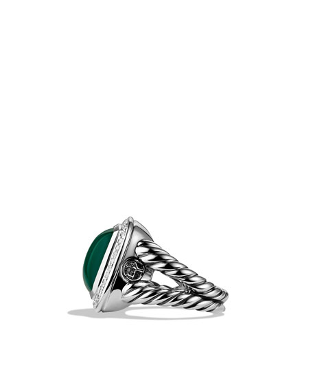 Albion Ring with Green Onyx and Diamonds