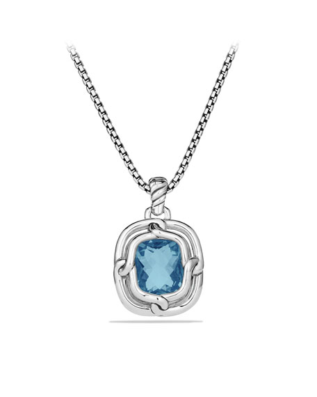 Labyrinth Large Pendant with Blue Topaz and Diamonds