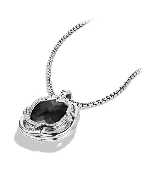 Labyrinth Large Pendant with Black Onyx and Diamonds