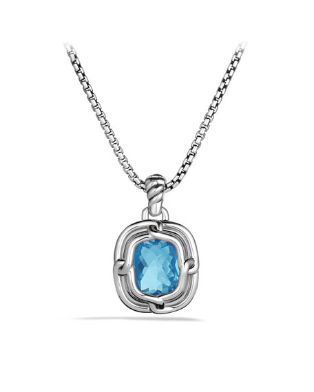 Labyrinth Medium Pendant with Blue Topaz and Diamonds