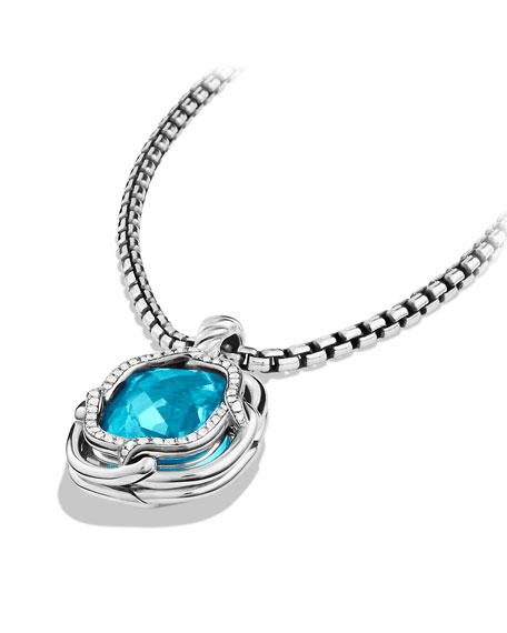 Labyrinth Small Pendant with Blue Topaz and Diamonds