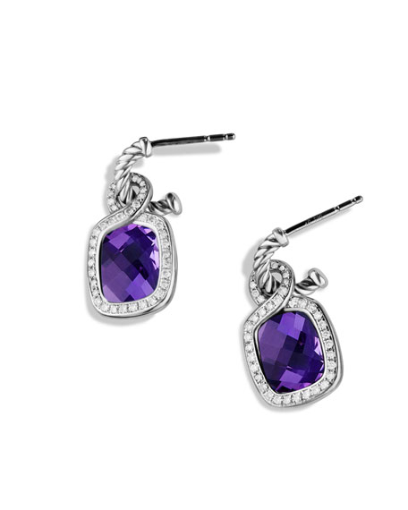 Labyrinth Drop Earrings with Amethyst and Diamonds
