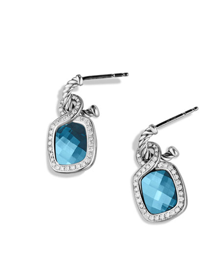 Labyrinth Drop Earrings with Blue Topaz and Diamonds