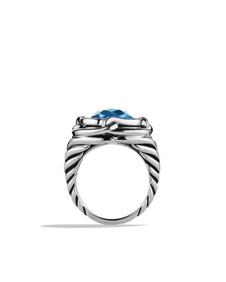 Labyrinth Ring with Blue Topaz and Diamonds