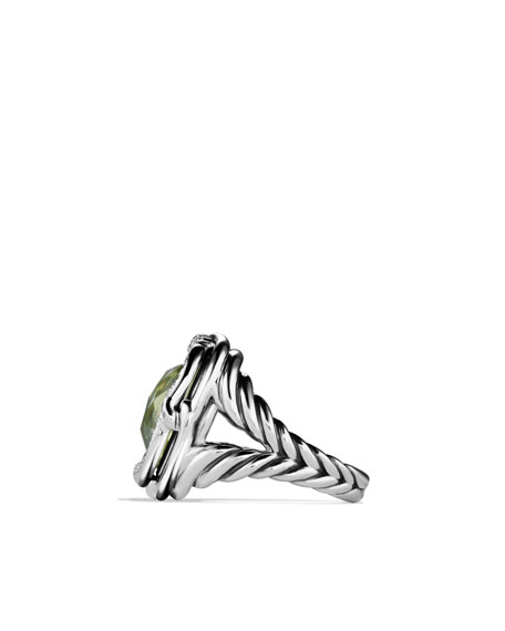 Labyrinth Ring with Prasiolite and Diamonds