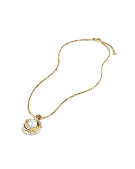 Pearl Crossover Pendant with Diamonds in Gold on Chain