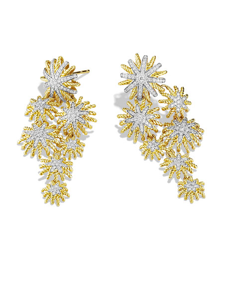 Starburst Cluster Earrings with Diamonds in Gold