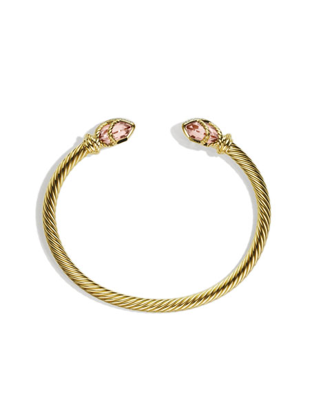 Cable Wrap Bracelet with Morganite and Diamonds in Gold