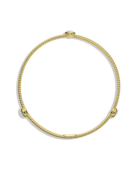 Confetti Three-Station Bangle with Diamonds in Gold