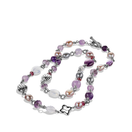 Bead Necklace Lavender Amethyst and Lavender Moon Quartz