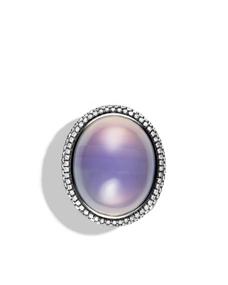 DY Signature Oval Ring with Lavender Moon Quartz and Diamonds