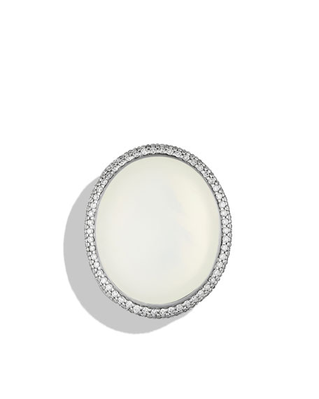 DY Signature Oval Ring with Moon Quartz and Diamonds