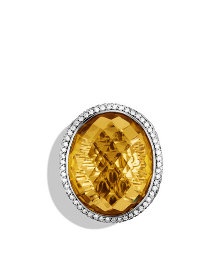 DY Signature Oval Ring with Lemon Citrine and Diamonds