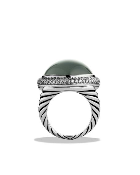 DY Signature Oval Ring with Green Diopside and Diamonds