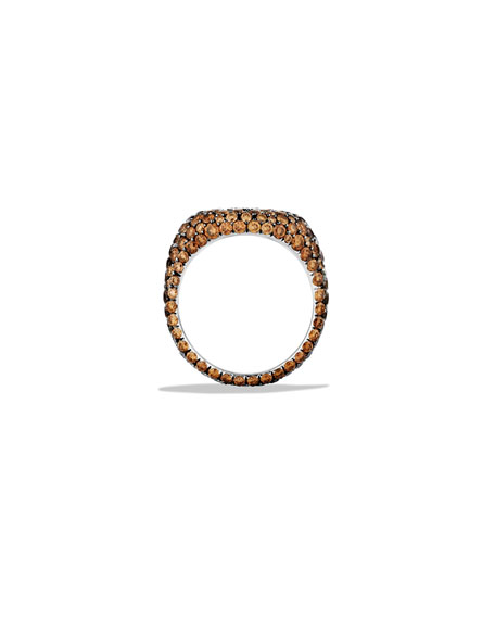 Pavé Pinky Ring with Cognac Diamonds in Gold