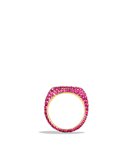 Pavé Pinky Ring with Pink Spinels in White Gold